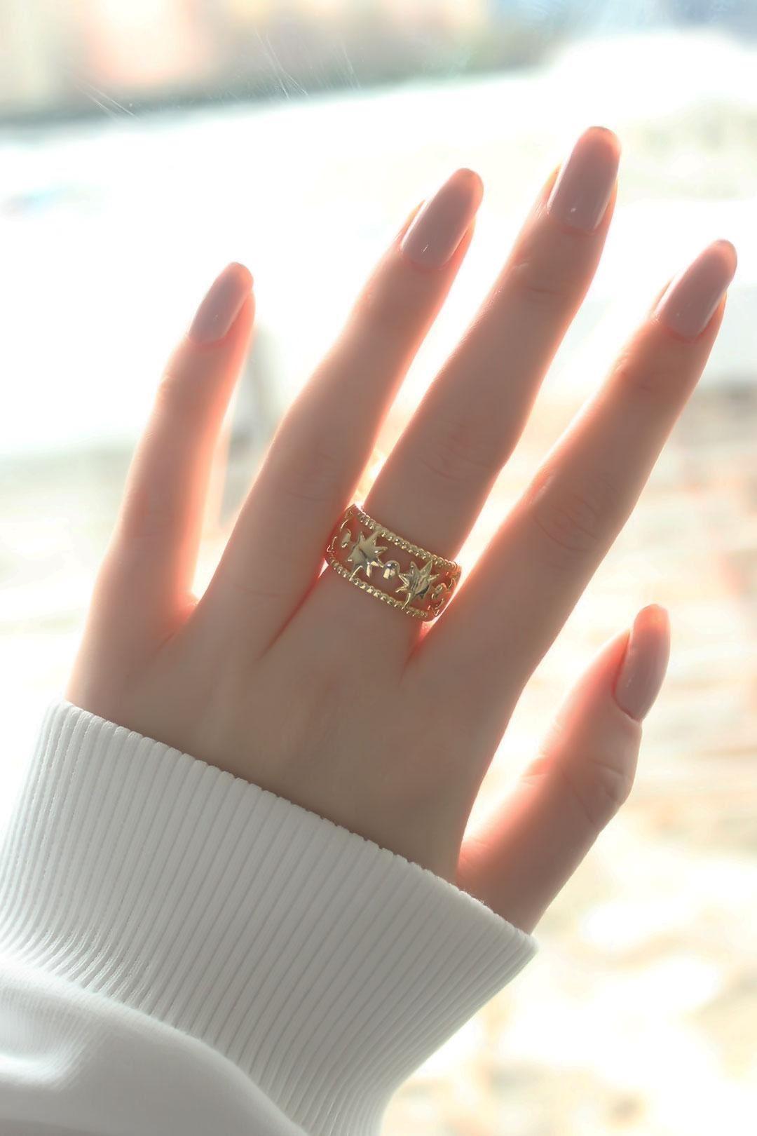 Zincir Yıldız Tasarım Gold Kaplama Ayarlanabilir Kadın Yüzük