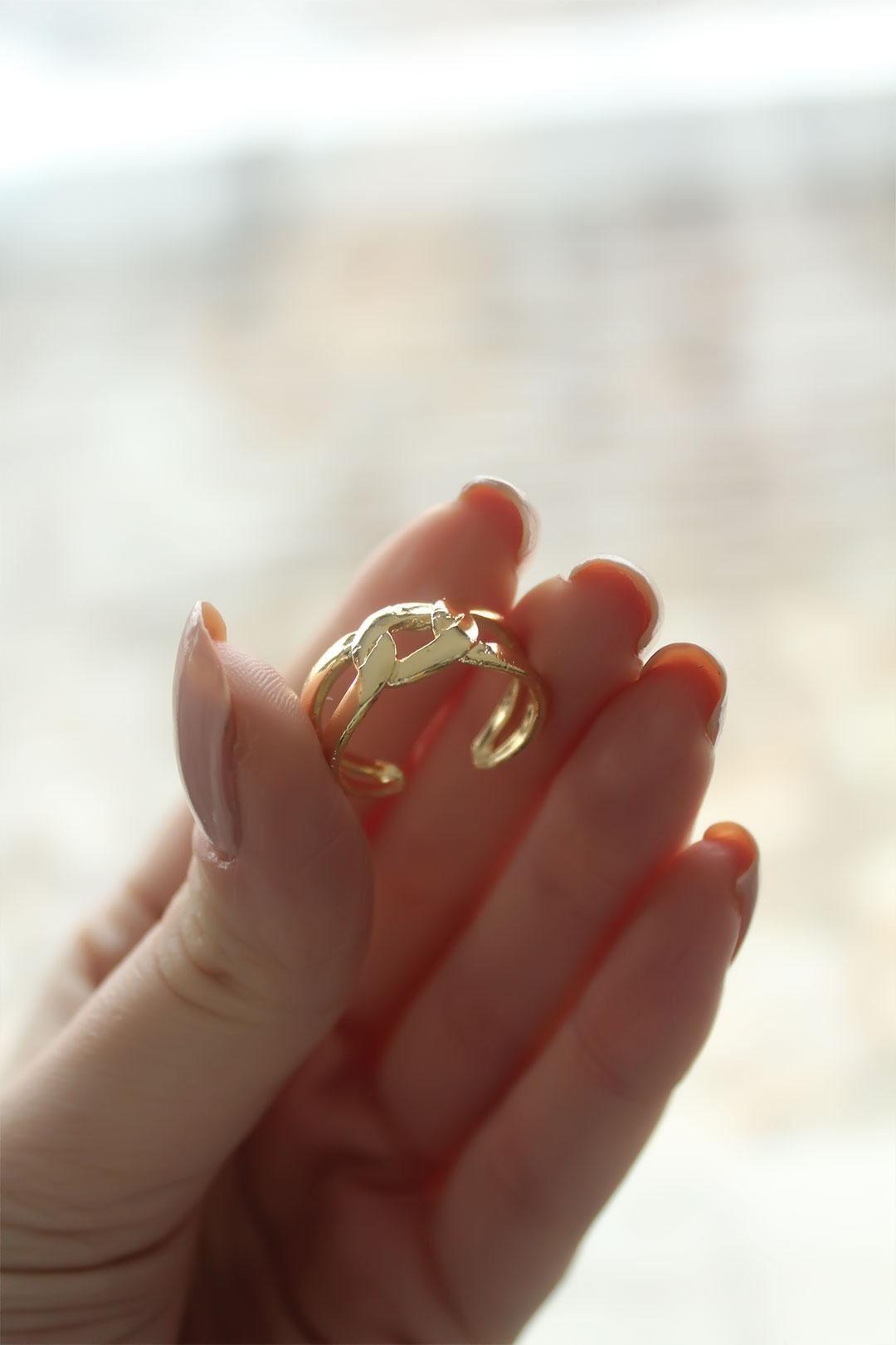 Sarmal Zincir Model Gold Ayarlanabilir Kadın Yüzük