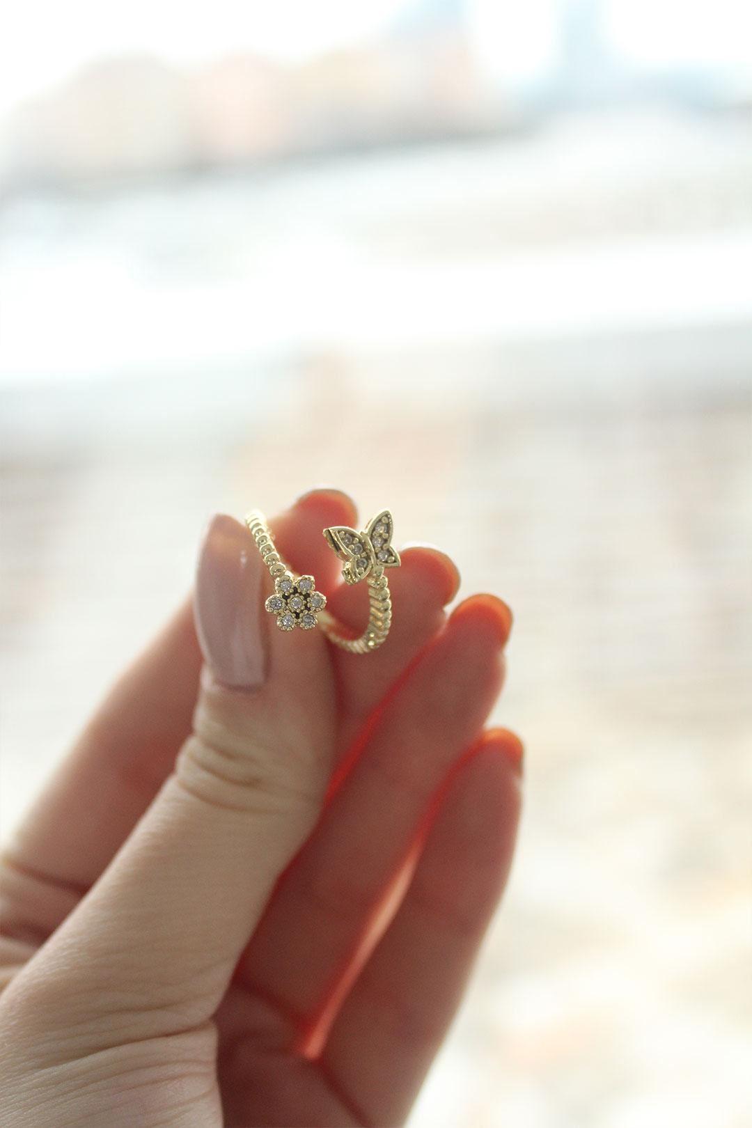 Zirkon Taşlı Kelebek Gold Ayarlanabilir Kadın Yüzük