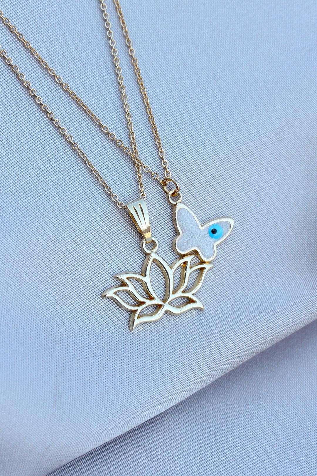 Kelebek ve Lotus Tasarımlı Çift Zincir Kolye