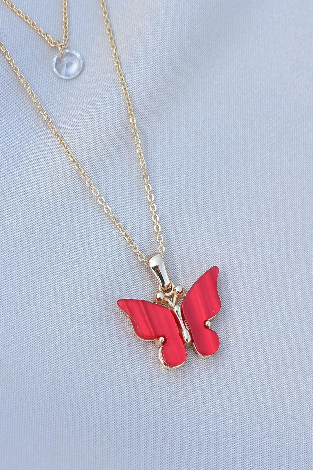 Kırmızı Kelebek Model Gold Renk Çift Zincir Kolye