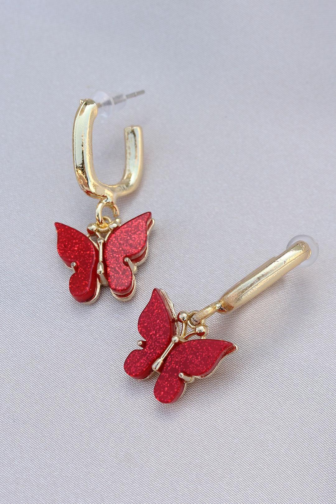Pullu Kırmızı Kelebek Model Küpe