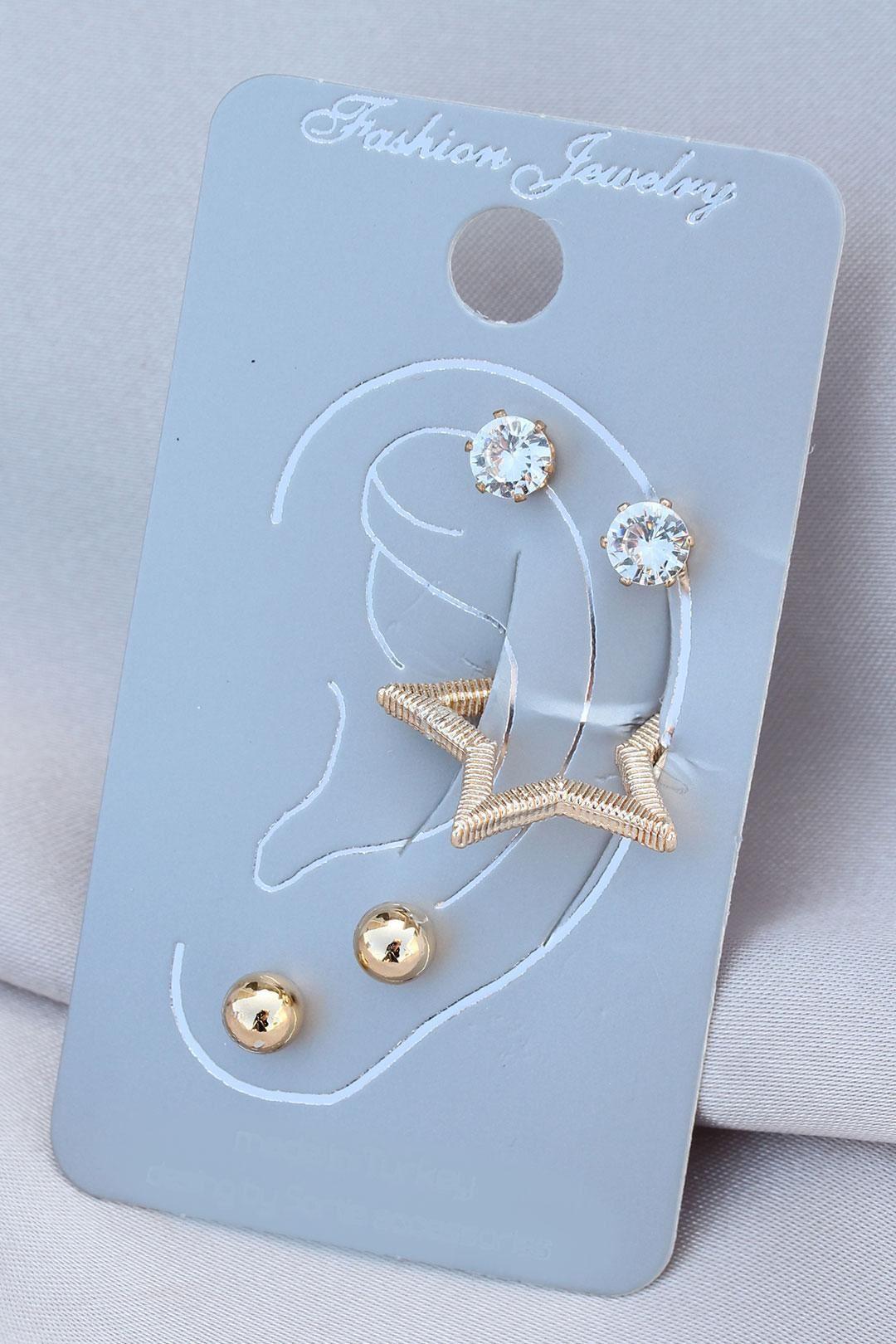 Yıldız Model Gold Renk Metal Taşlı Kıkırdak Küpe Seti