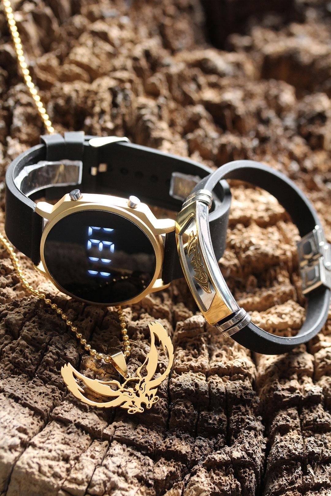 Siyah Silikon Kordonlu Dokunmatik Led Gold Kasa Erkek Saat Kolye ve Bileklik Kombini