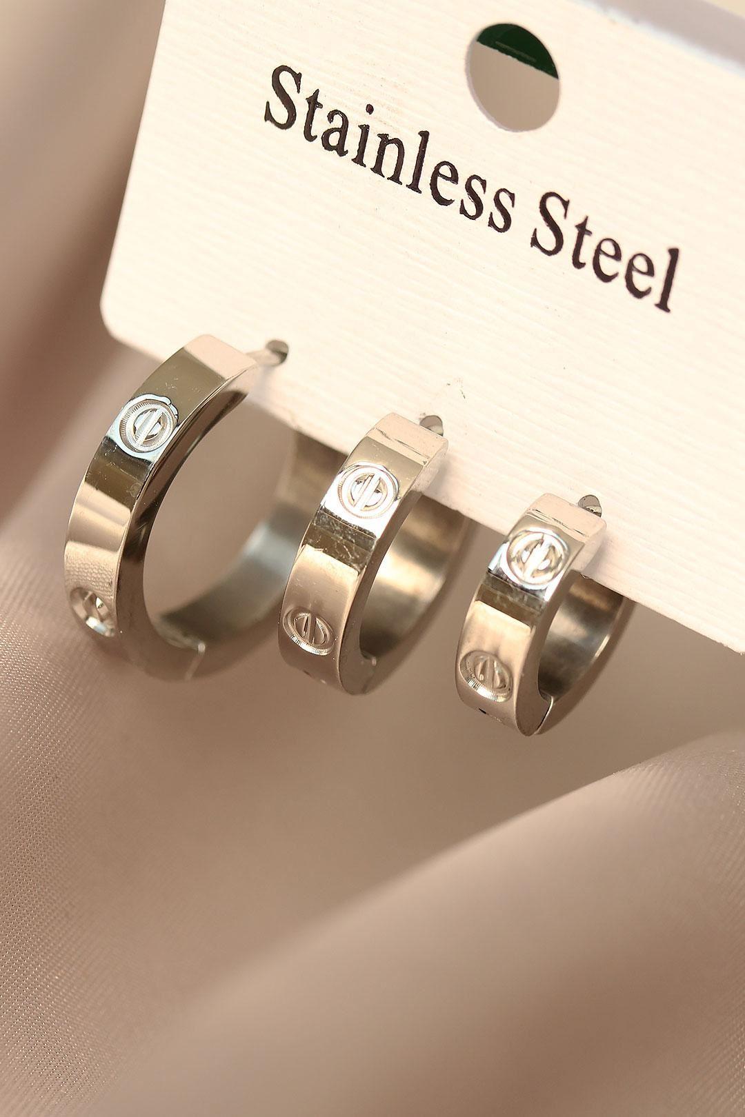 Çelik Silver Renkli 3lü Küpe Seti