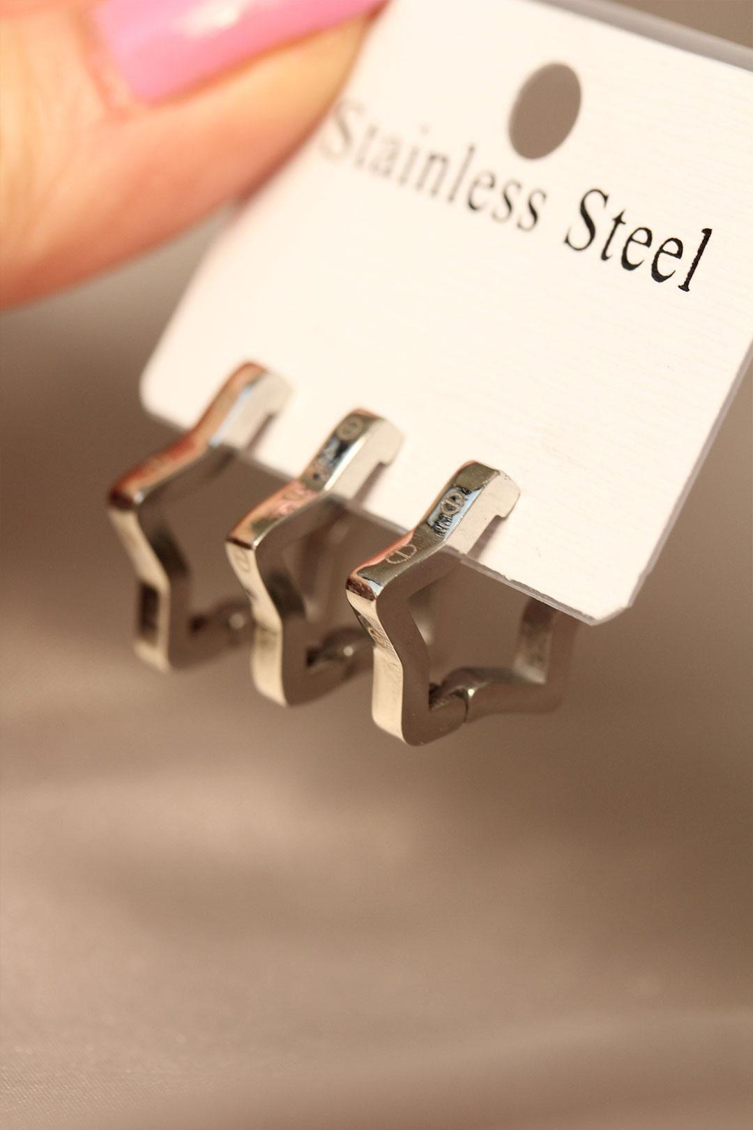 Yıldız Model Silver Renk Çelik Küpe Seti