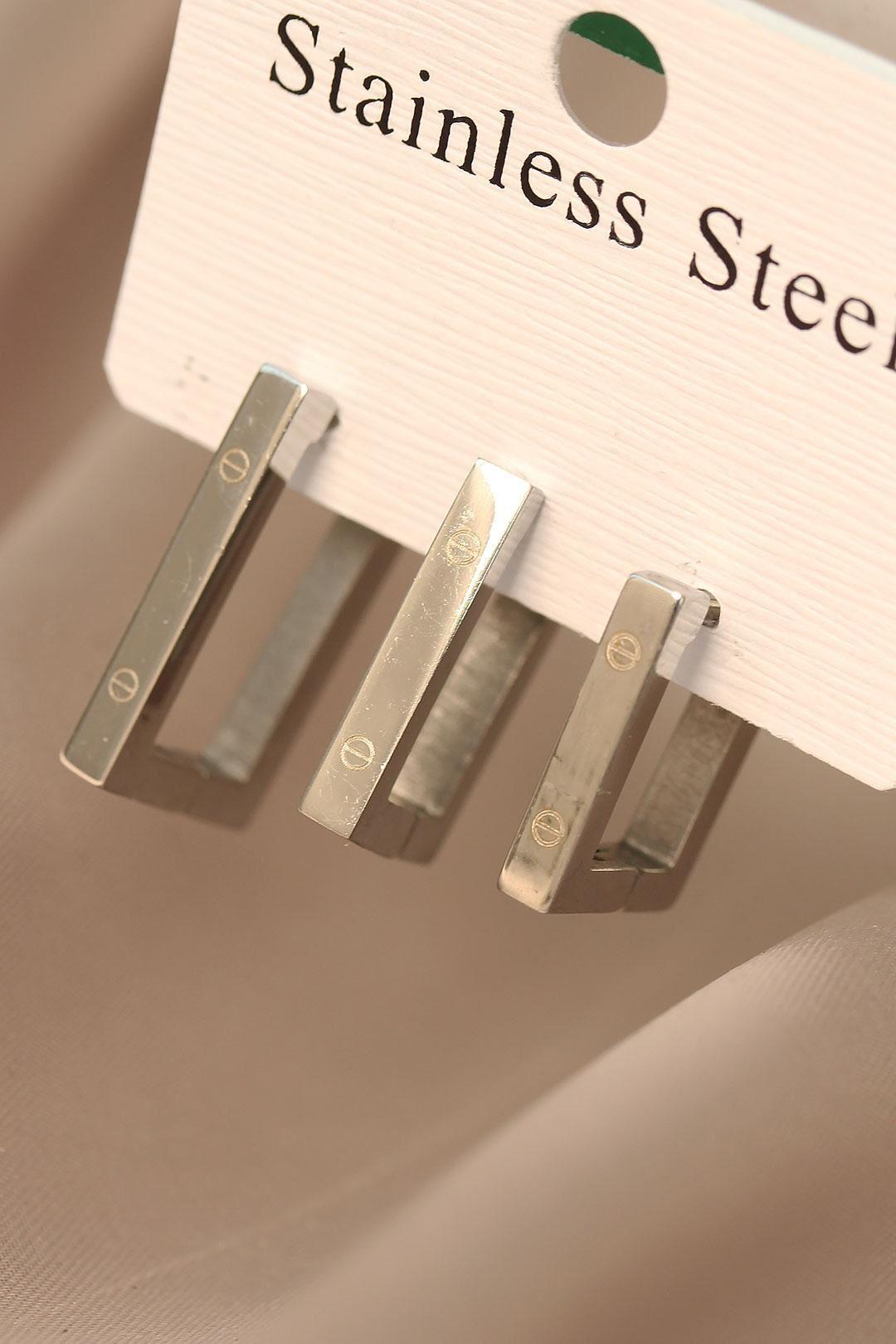 Geometrik Model Gümüş Renk Çelik Küpe Seti