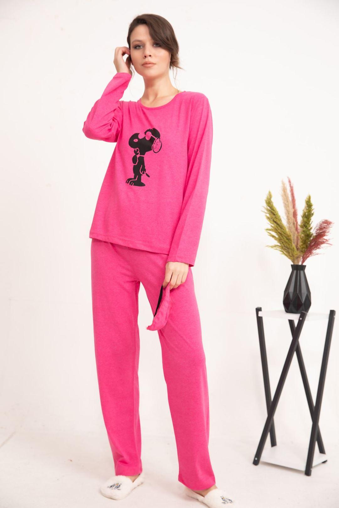 Snoopy Baskılı Uzun Kollu Pijama Takımı Pembe