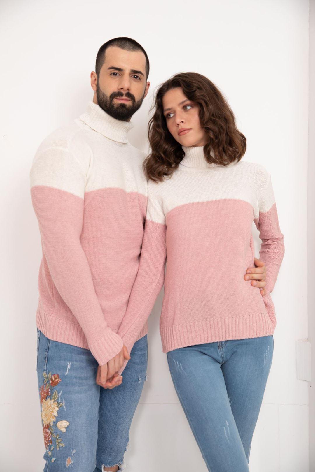 Çift Renk Bogazlı Eşli Triko Bluz Pudra