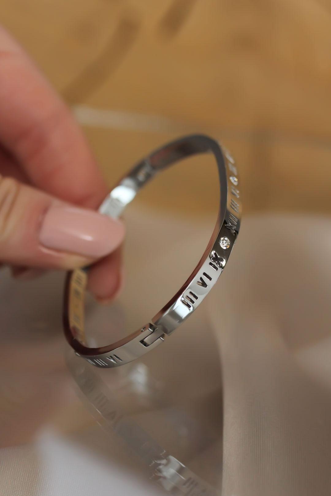 Roma Rakamlı Silver Renk Cartier Çelik Bilezik