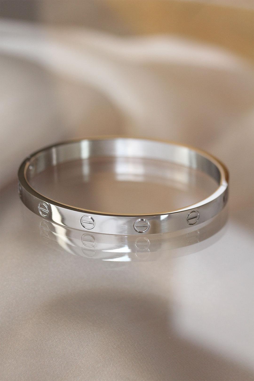 Silver Renk Cartier Çelik Bilezik