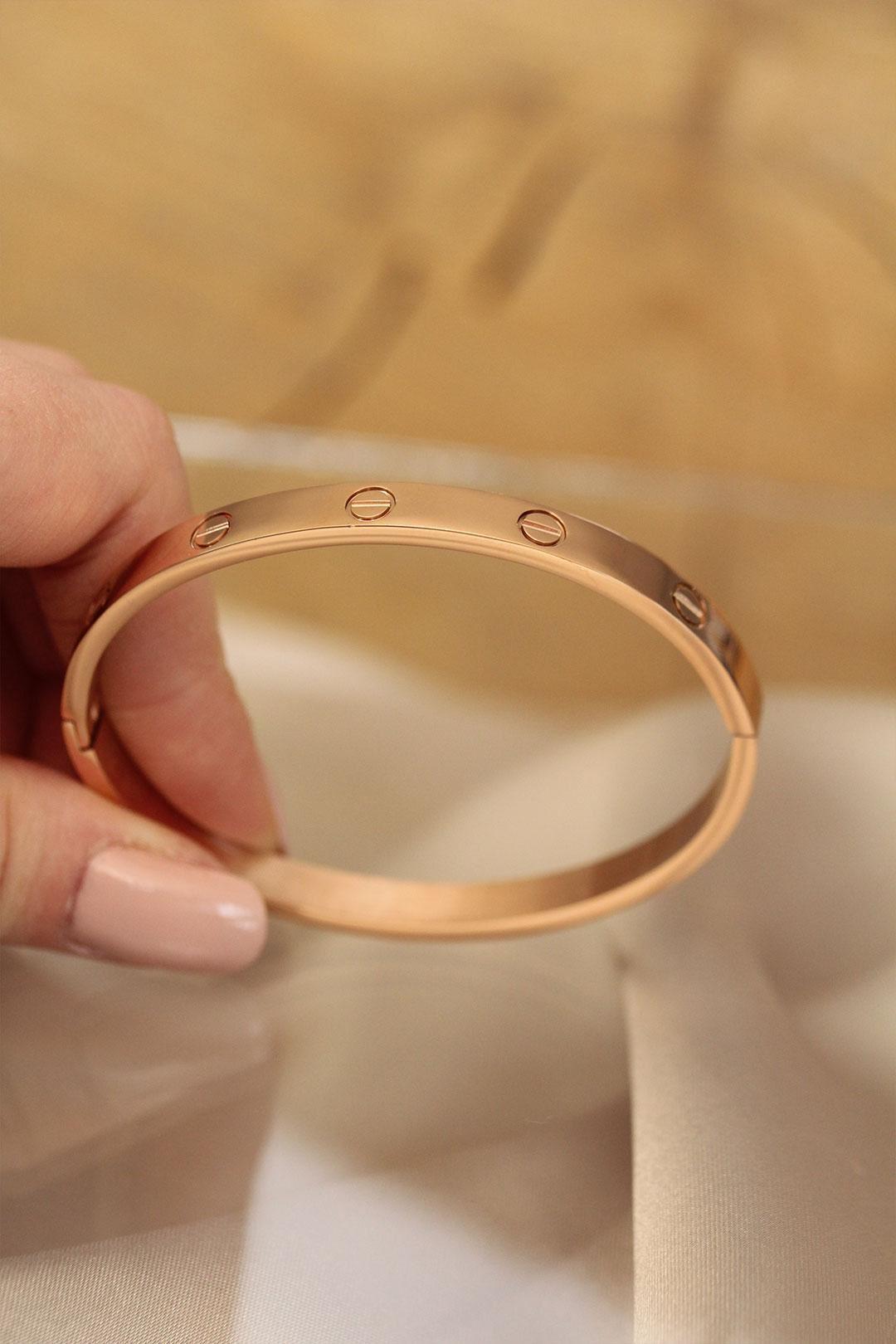Rose Renk Cartier Çelik Bilezik