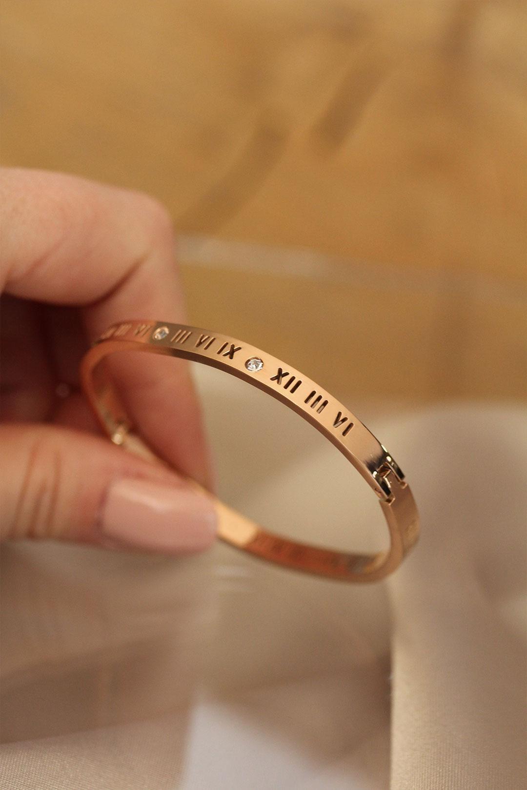 Roma Rakamlı Rose Renk Cartier Çelik Bilezik