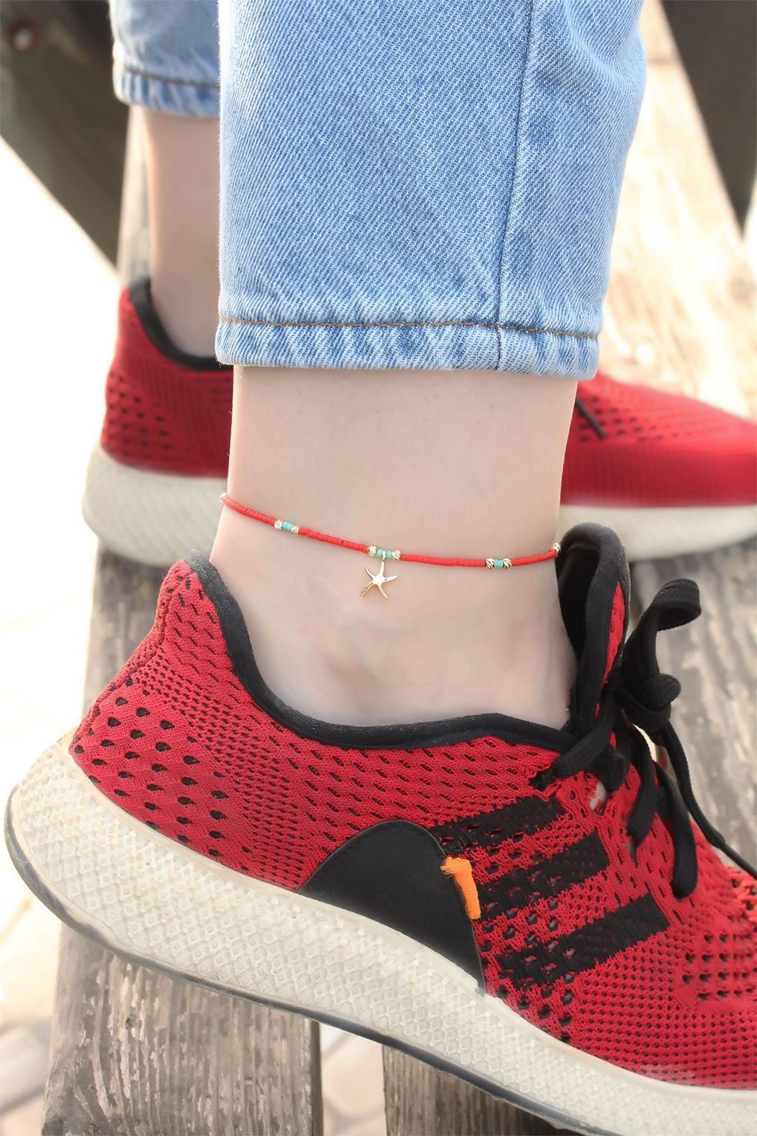 Deniz Yıldızı Tasarımlı Kırmızı Boncuk Detaylı Halhal