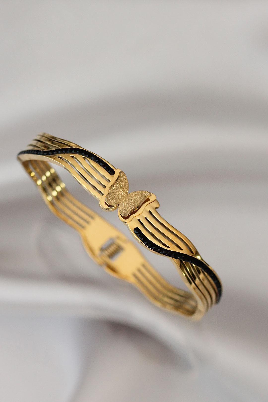Kelebek Tasarımlı Kalın Çelik Bilezik