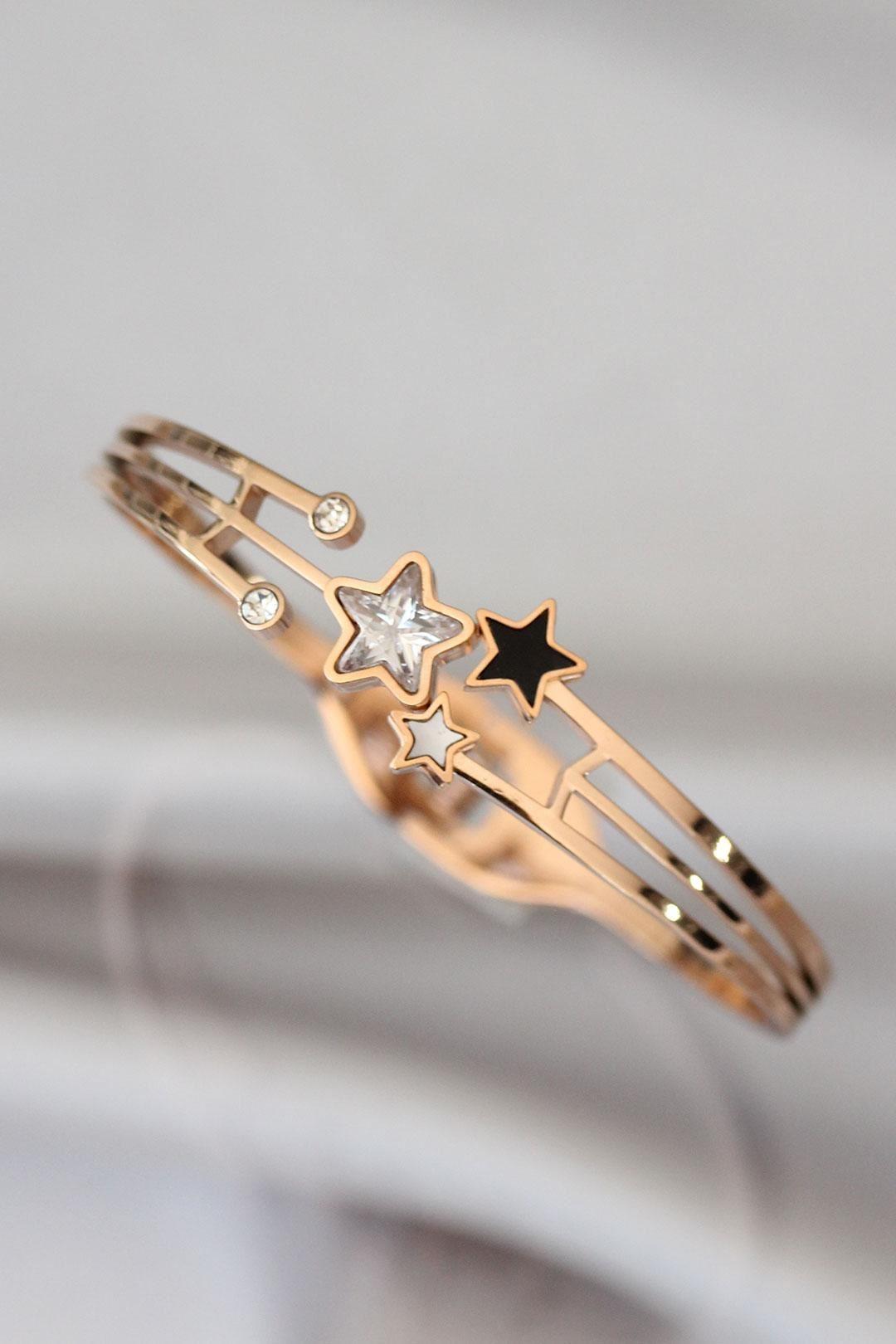 Zirkon Taşlı Yıldız Tasarımlı Çelik Bilezik