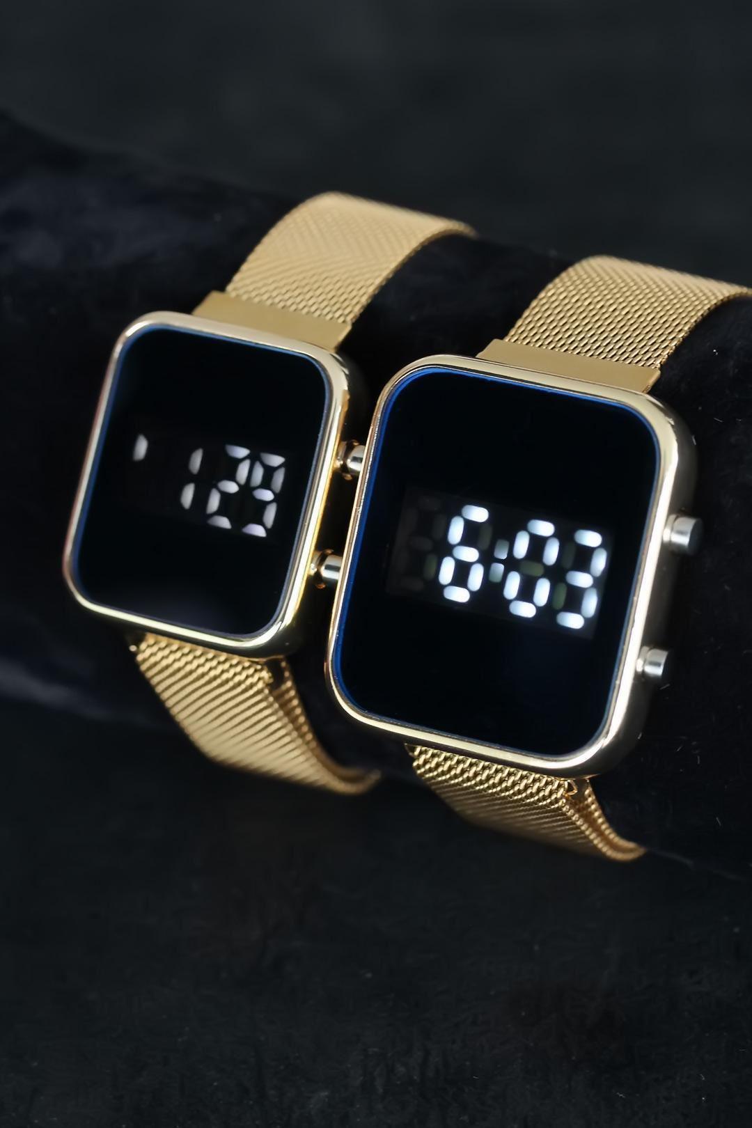 Gold Hasır Metal Kordonlu Dijital Led Sevgili Saat Kombini