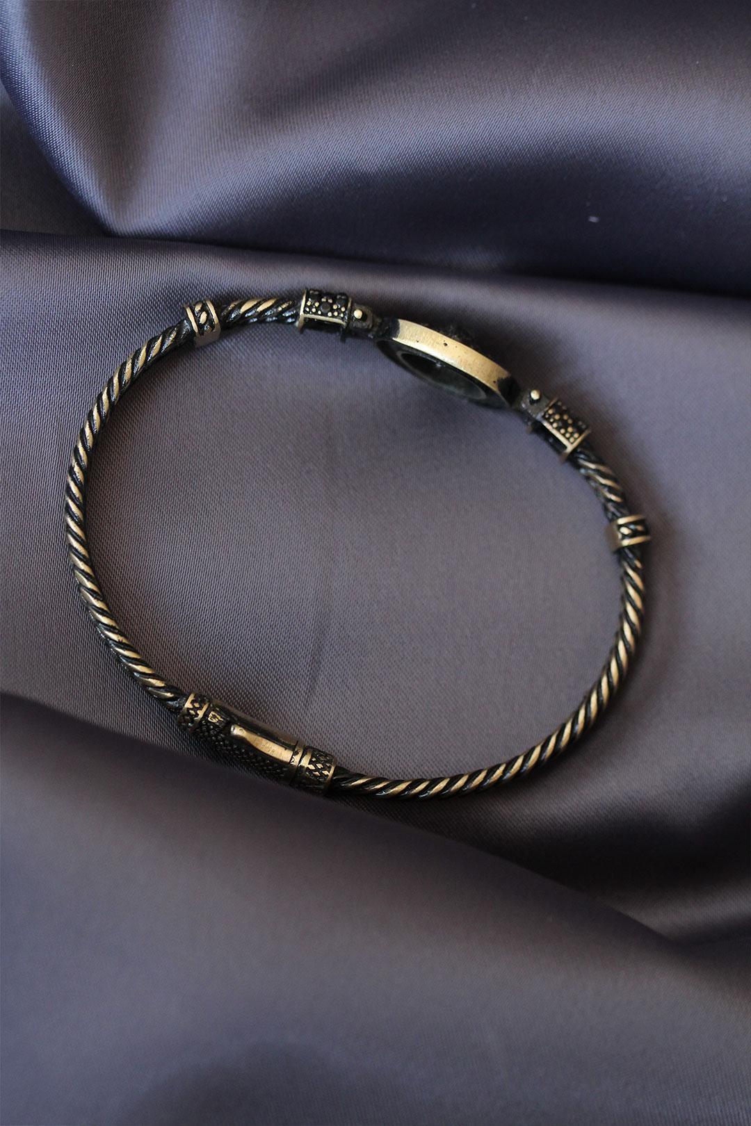 Antik Sarı Zirkon Taşlı Aslan Figürlü Lüx Bileklik