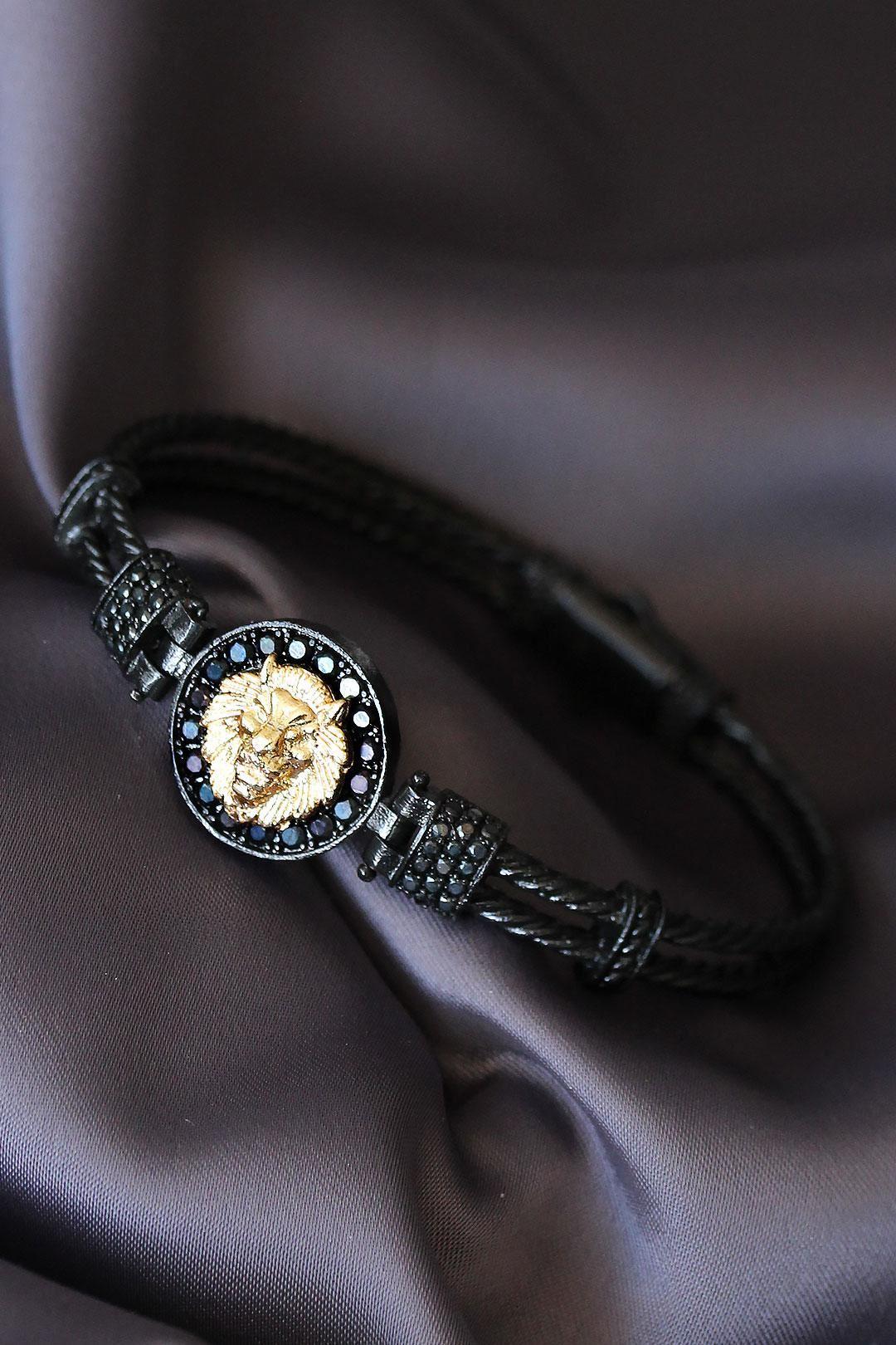 Siyah Renk Zirkon Taşlı Gold Aslan Figürlü Lüx Bileklik