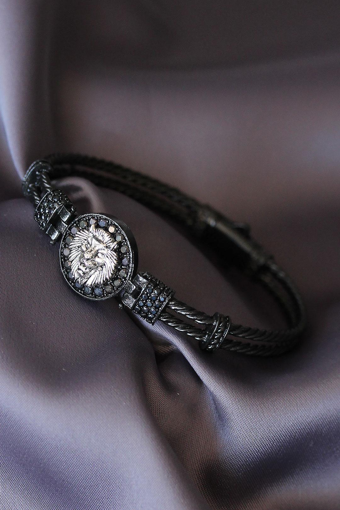 Siyah Renk Zirkon Taşlı Gümüş Renk Aslan Figürlü Lüx Bileklik