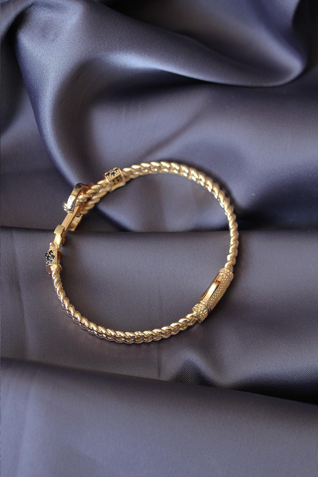 Altın Renk Çapa Tasarımlı Zirkon Taşlı Lüx Bileklik