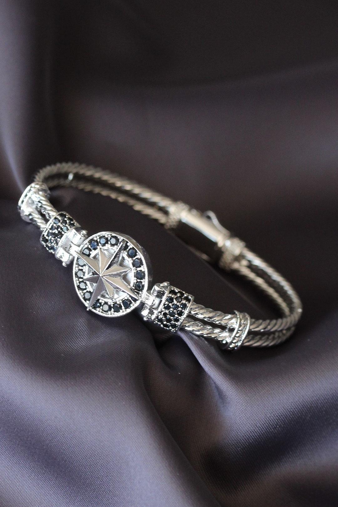 Silver Renk Zirkon Taşlı Kutup Yıldızı Figürlü Lüx Bileklik