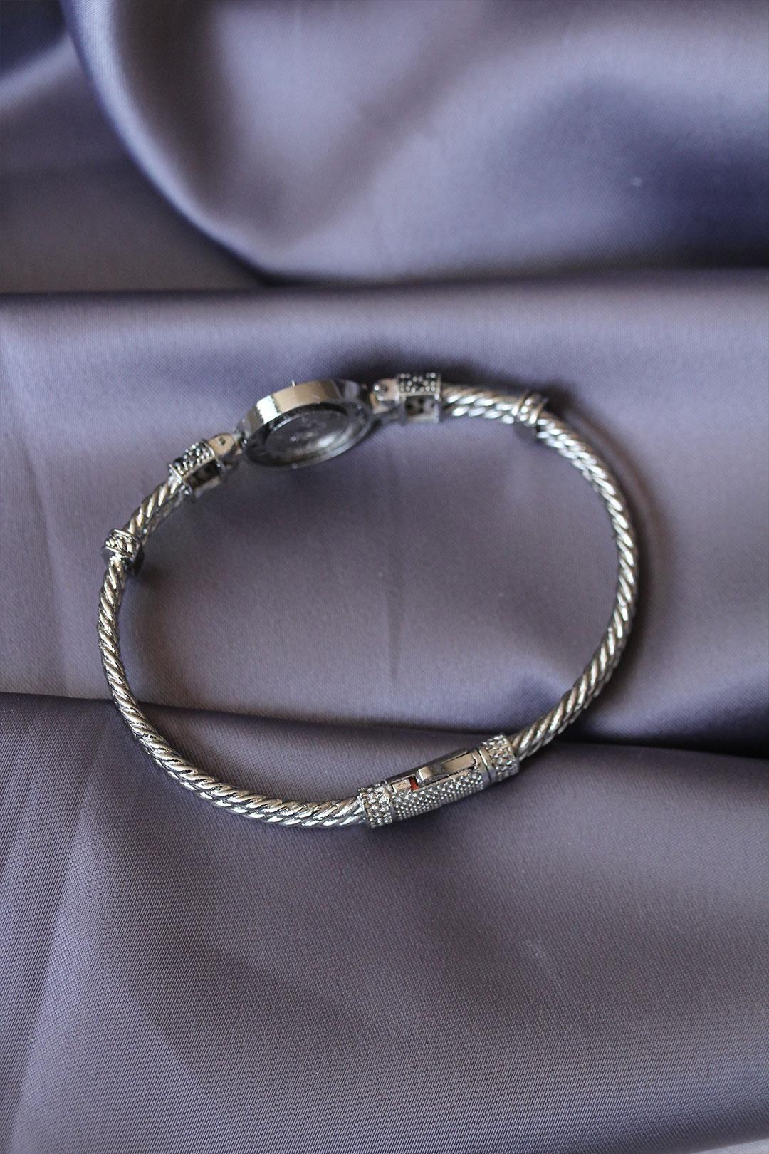 Antik Gümüş Renk Kutup Yıldızı Tasarımlı Zirkon Taşlı Lüx Bileklik