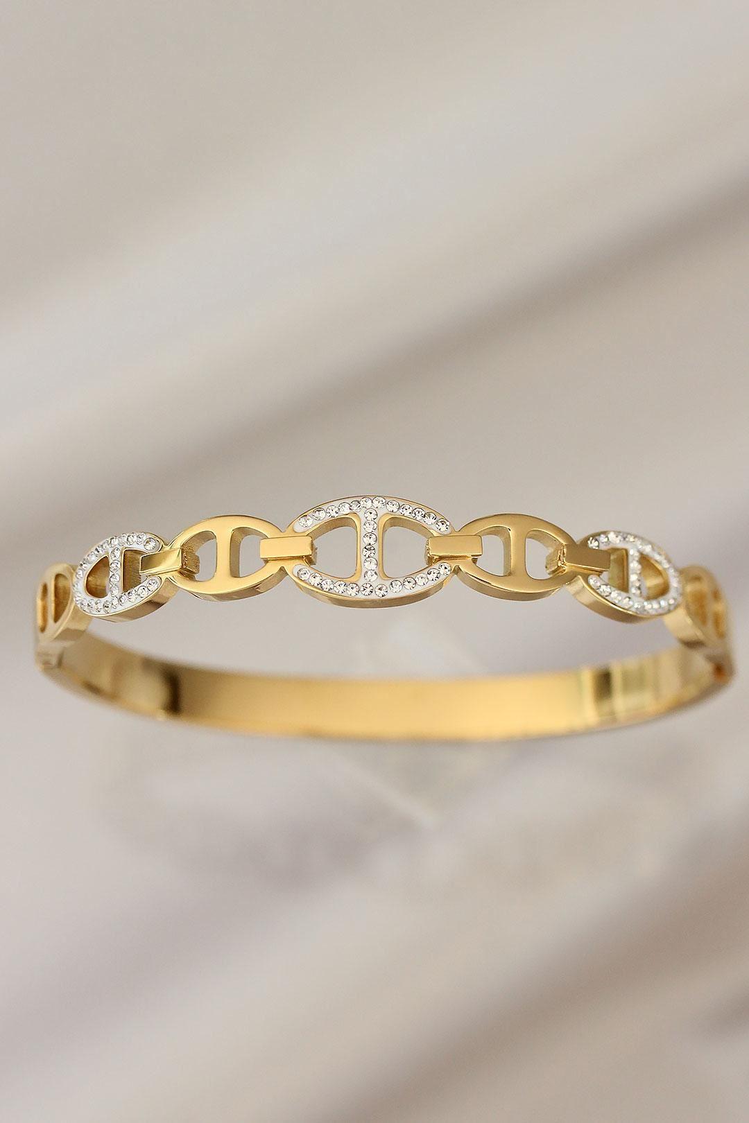 Zirkon Taşlı Gold Renk Çelik Bilezik
