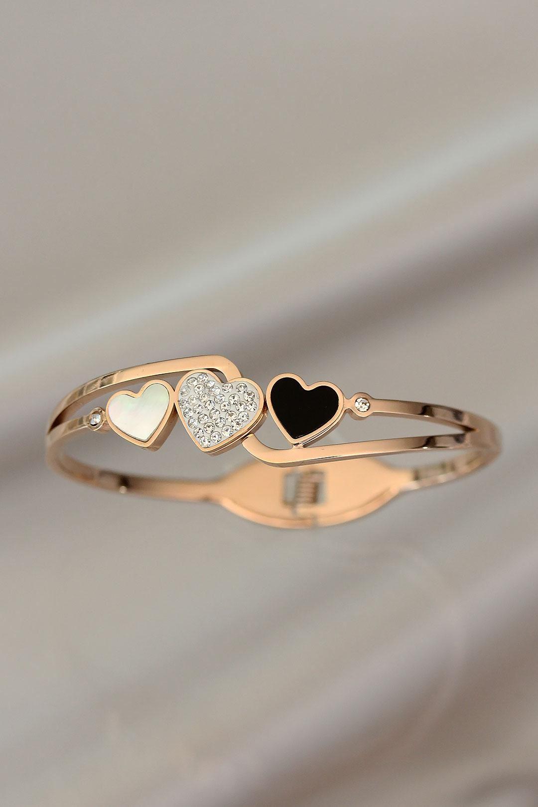 Kalp Tasarımlı Zirkon Taşlı Rose Renk Çelik Bilezik