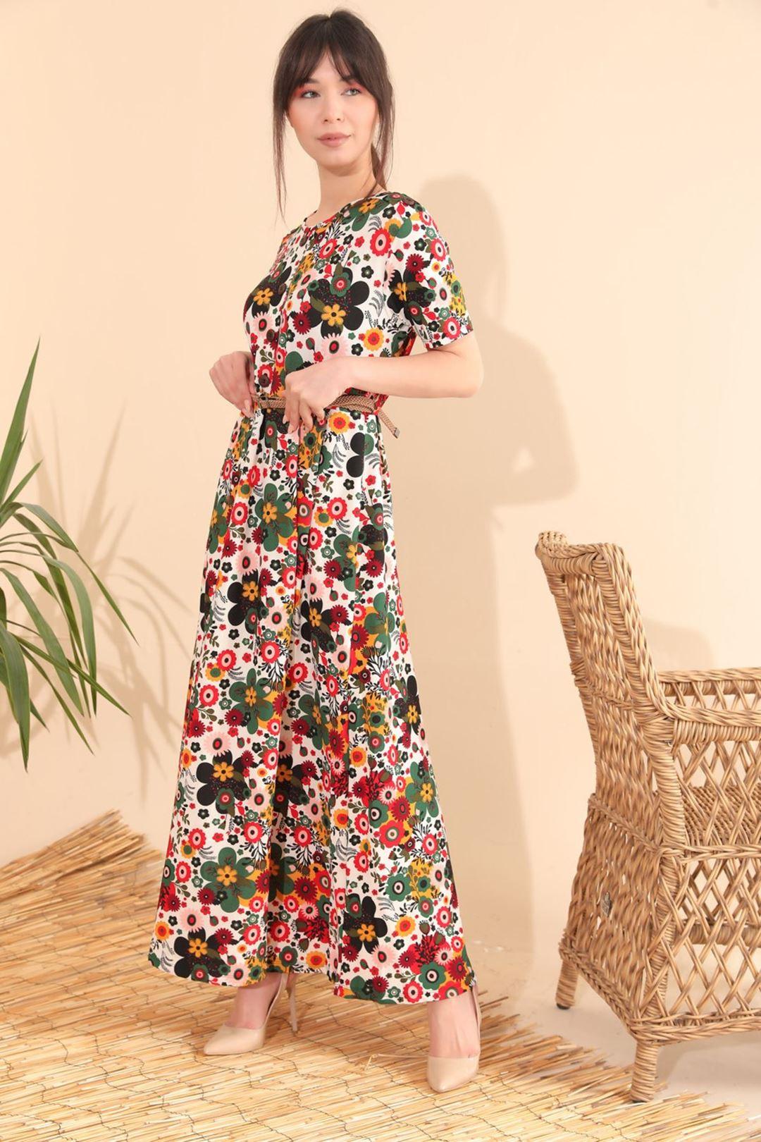 Çiçek Desenli Kemerli Kloş Elbise Krem