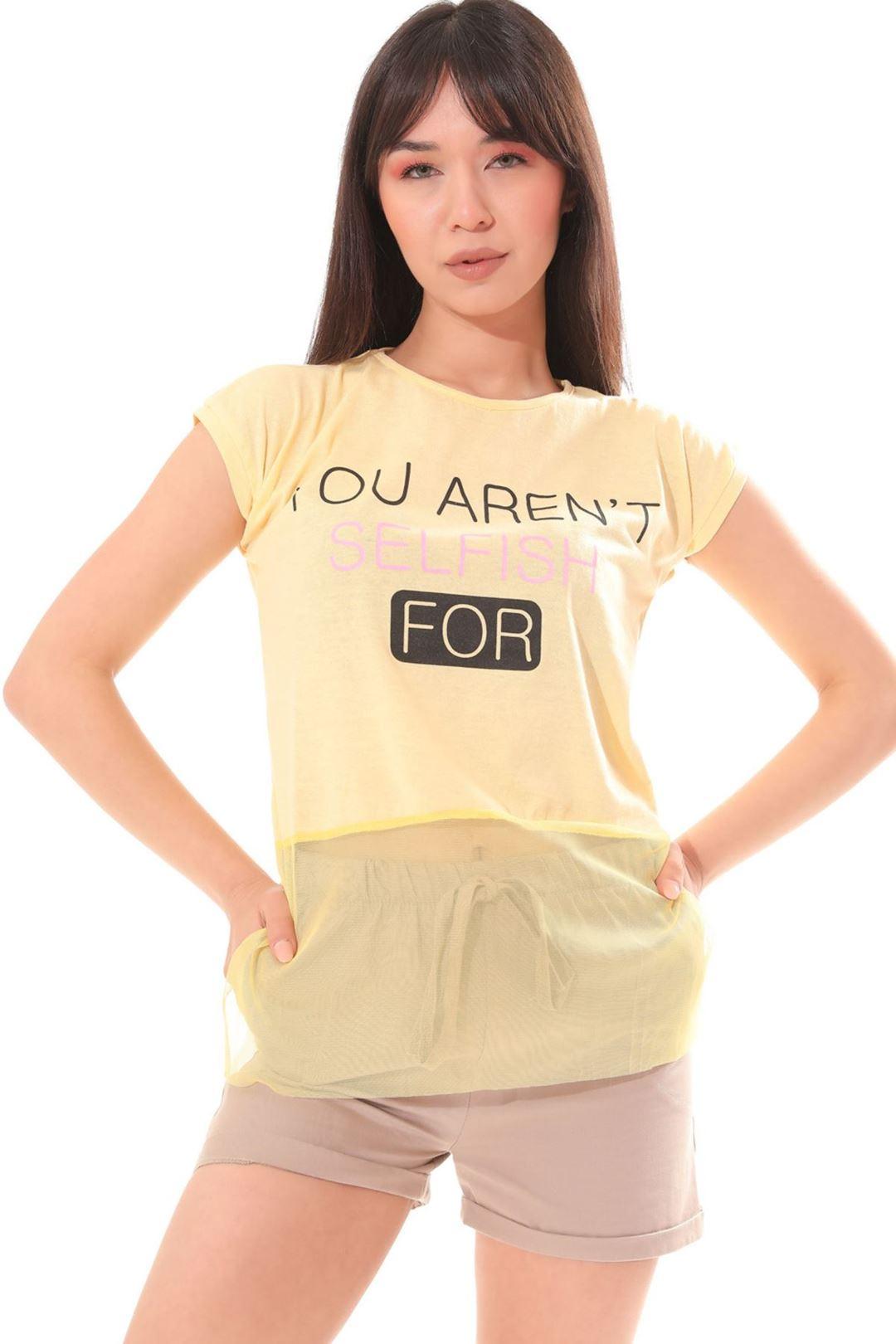 Etek Ucu Tüllü T-shirt Sarı