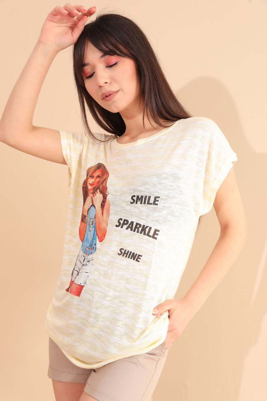 Smile Kız Baskılı T-shirt Sarı