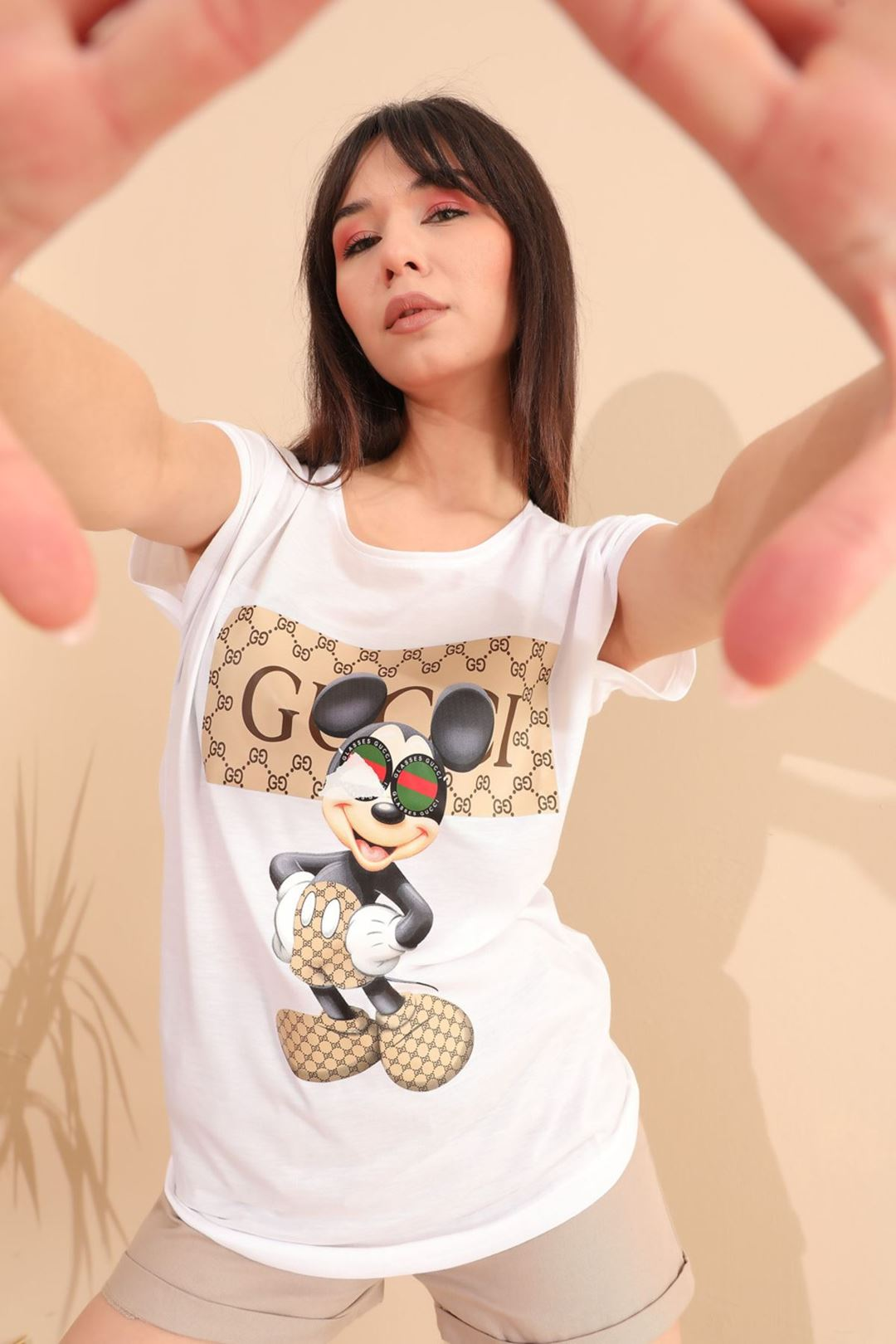 Mickey Mause Baskılı T-shirt Beyaz