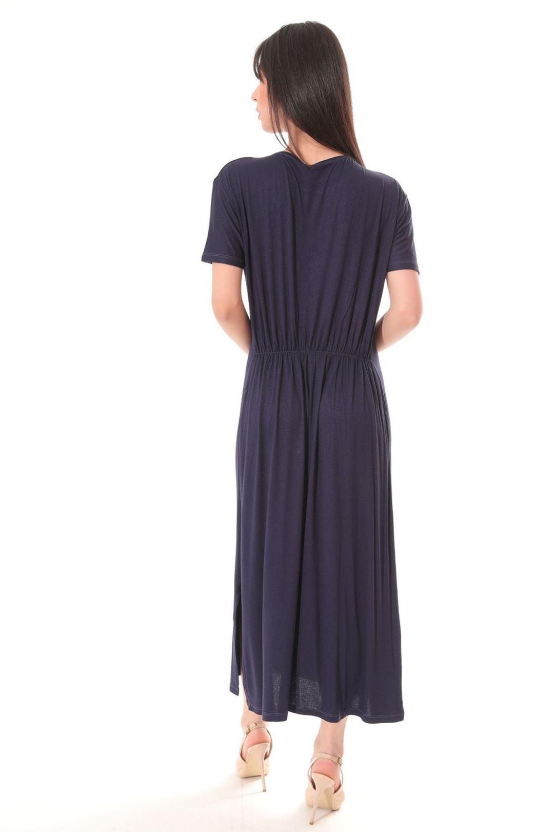 Love Baskılı Yanı Yırtmaçlı Elbise Lacivert