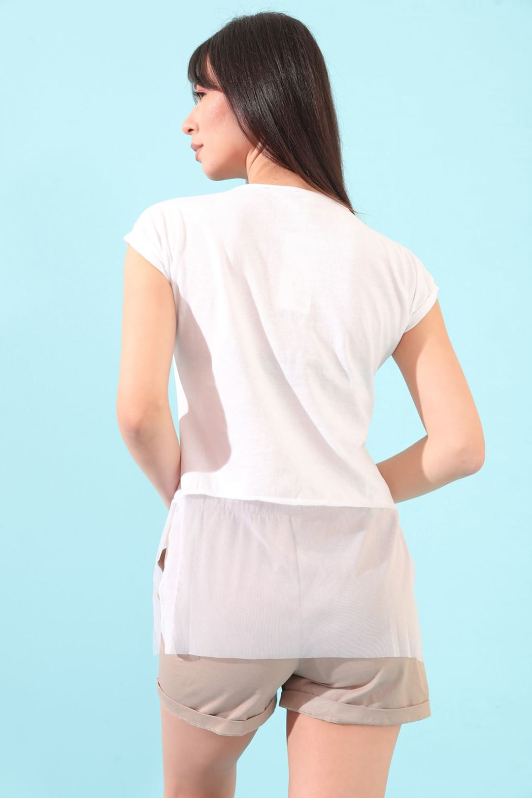 Etek Ucu Tüllü T-shirt Beyaz