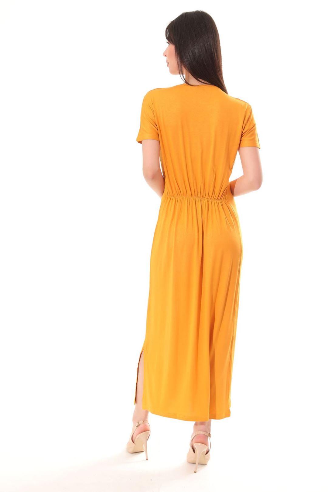 Love Baskılı Yanı Yırtmaçlı Elbise Safran