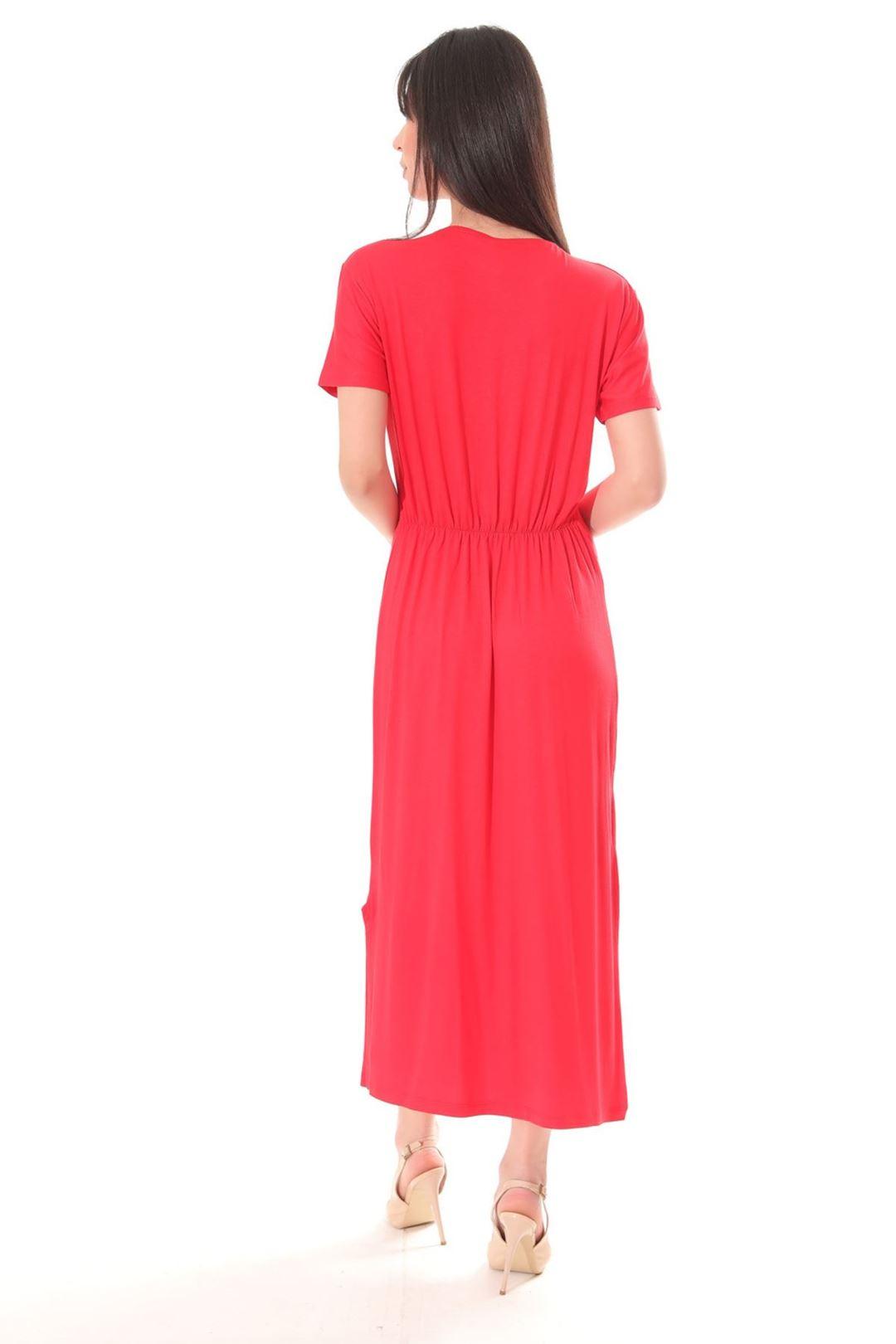 Love Baskılı Yanı Yırtmaçlı Elbise Kırmızı