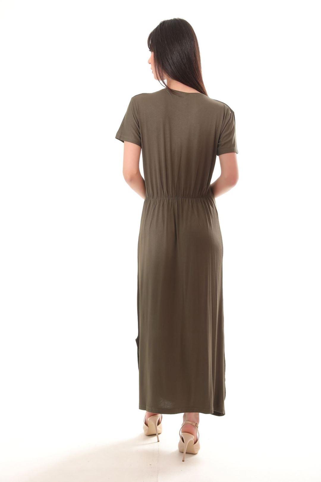 Love Baskılı Yanı Yırtmaçlı Elbise Haki