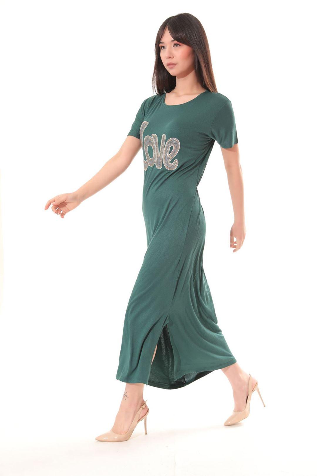 Love Baskılı Yanı Yırtmaçlı Elbise Zümrütyeşili