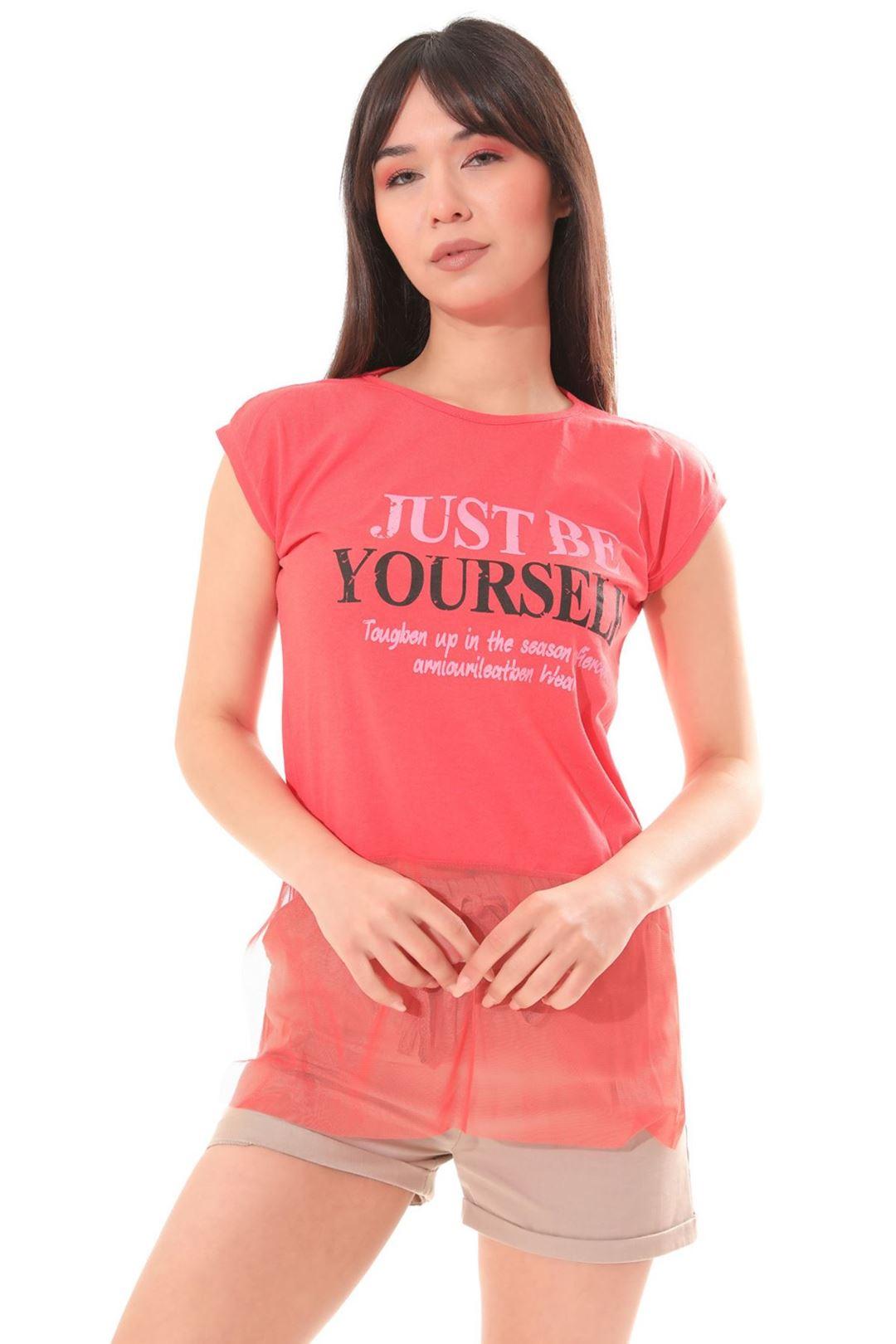 Etek Ucu Tüllü T-shirt Narçiçeği