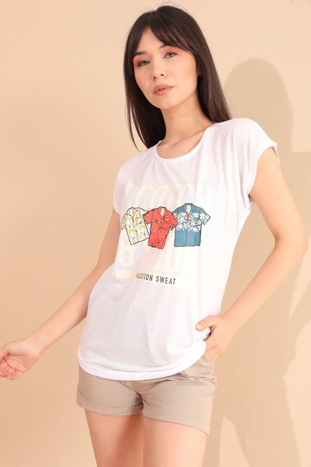 Vacatıon Baskılı T-shirt Beyaz