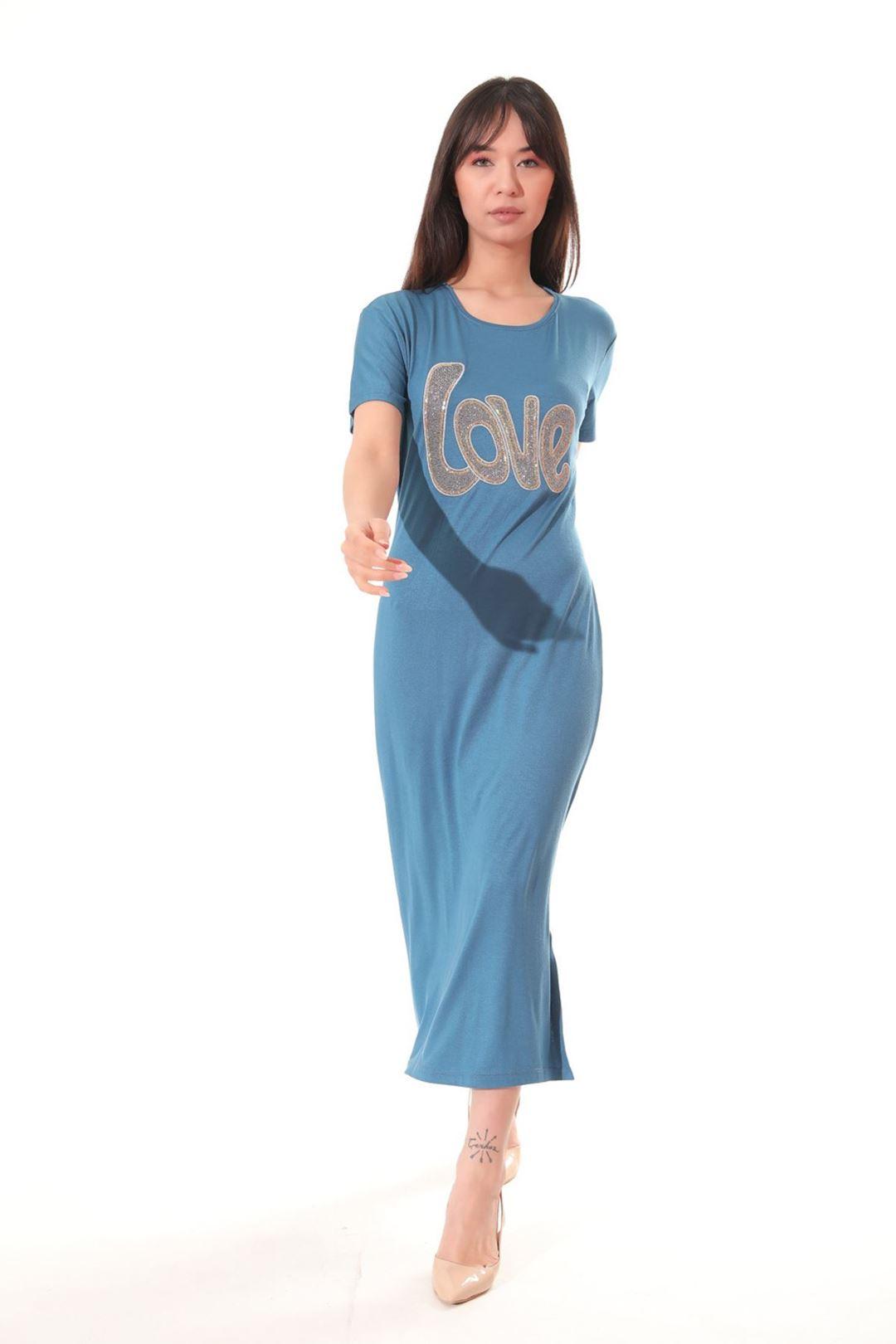 Love Baskılı Yanı Yırtmaçlı Elbise Petrol