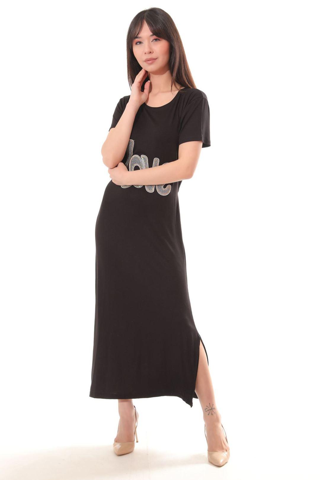 Love Baskılı Yanı Yırtmaçlı Elbise Siyah