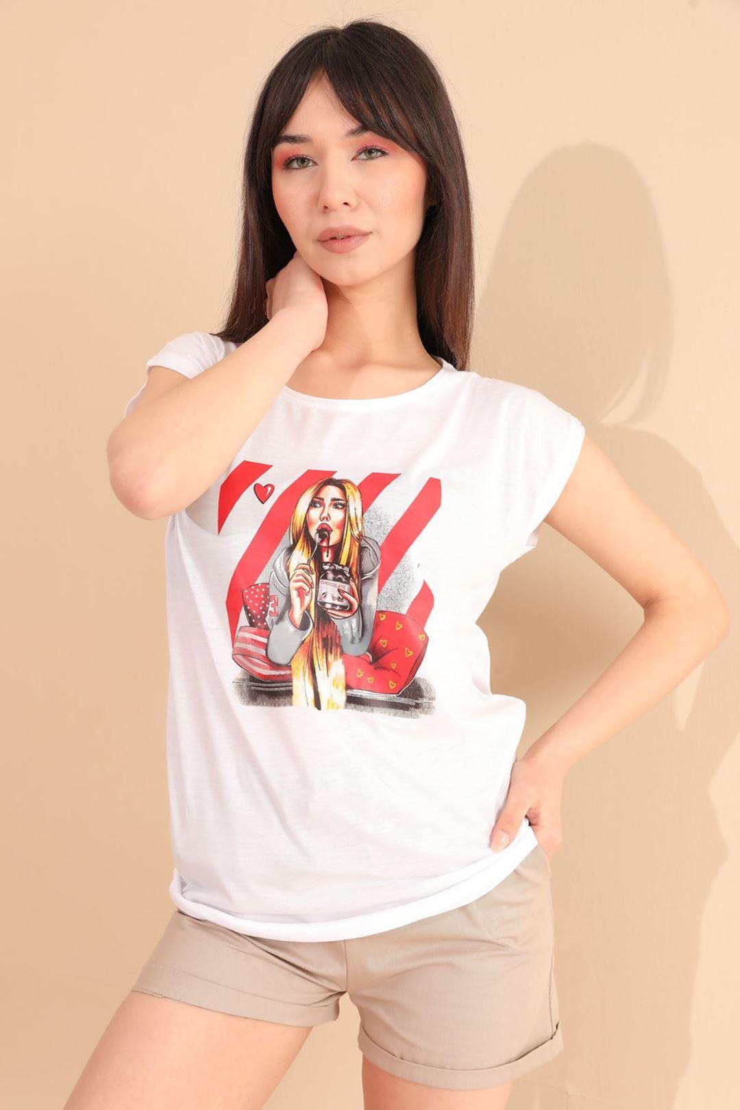 Kız Baskılı T-shirt Beyaz