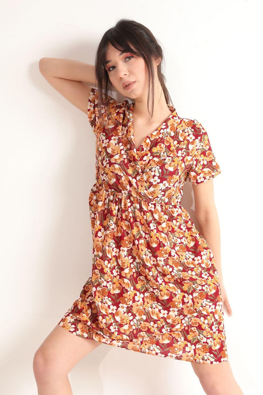 Kruvaze Yaka Kloş Elbise Bordo