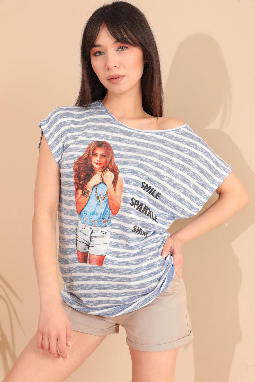Smile Kız Baskılı T-shirt Mavi