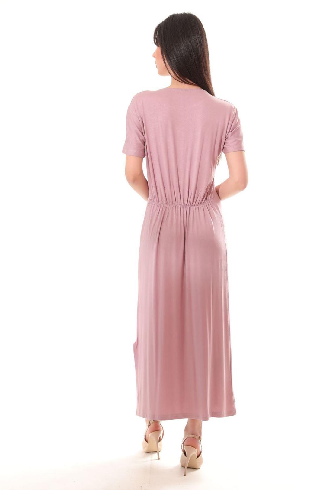 Love Baskılı Yanı Yırtmaçlı Elbise Gülkurusu