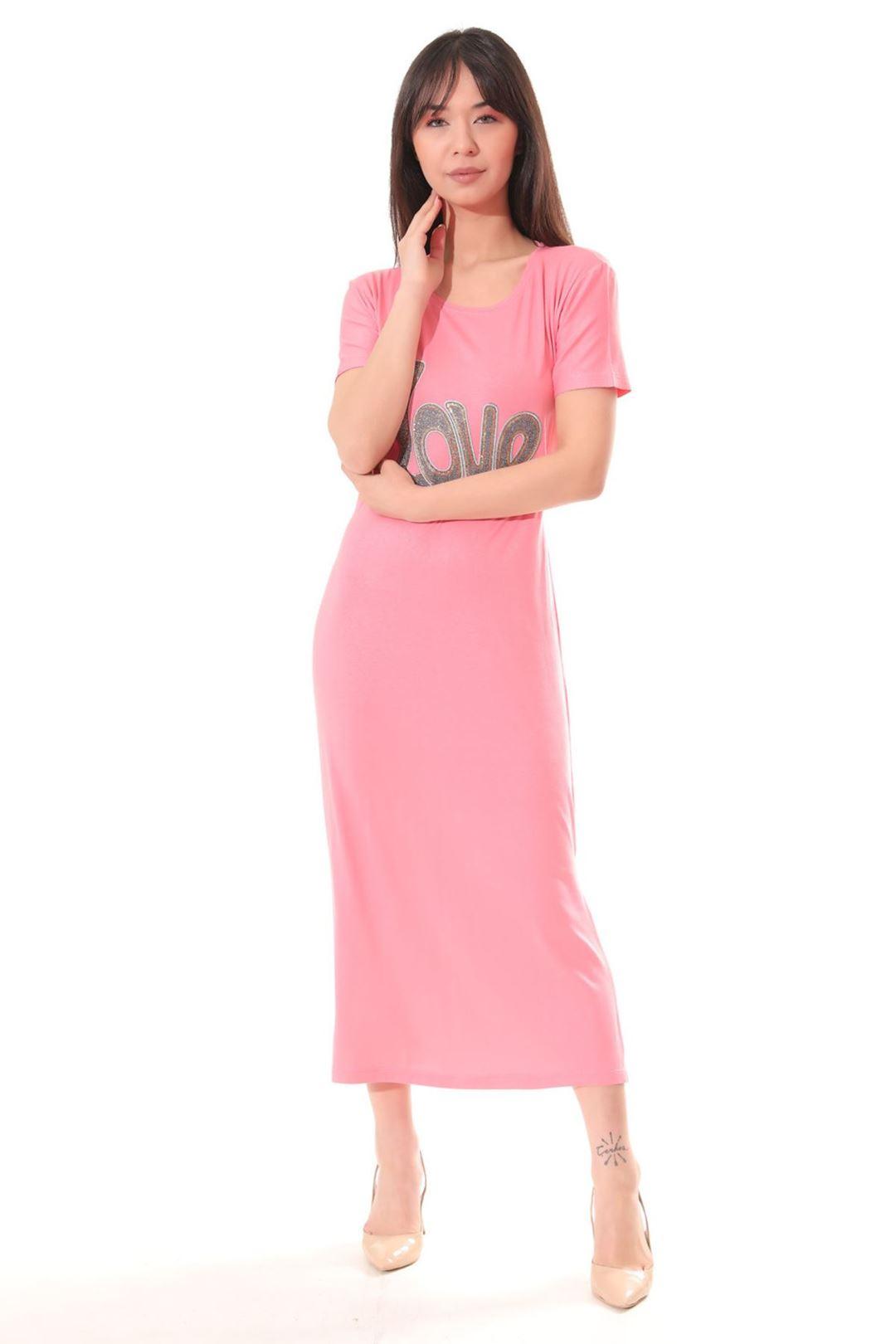 Love Baskılı Yanı Yırtmaçlı Elbise Pembe