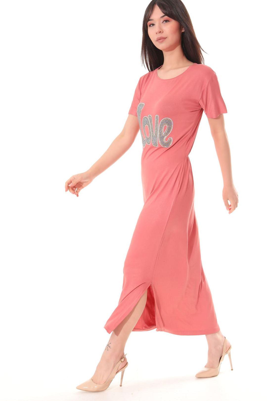 Love Baskılı Yanı Yırtmaçlı Elbise Soğan Kabuğu