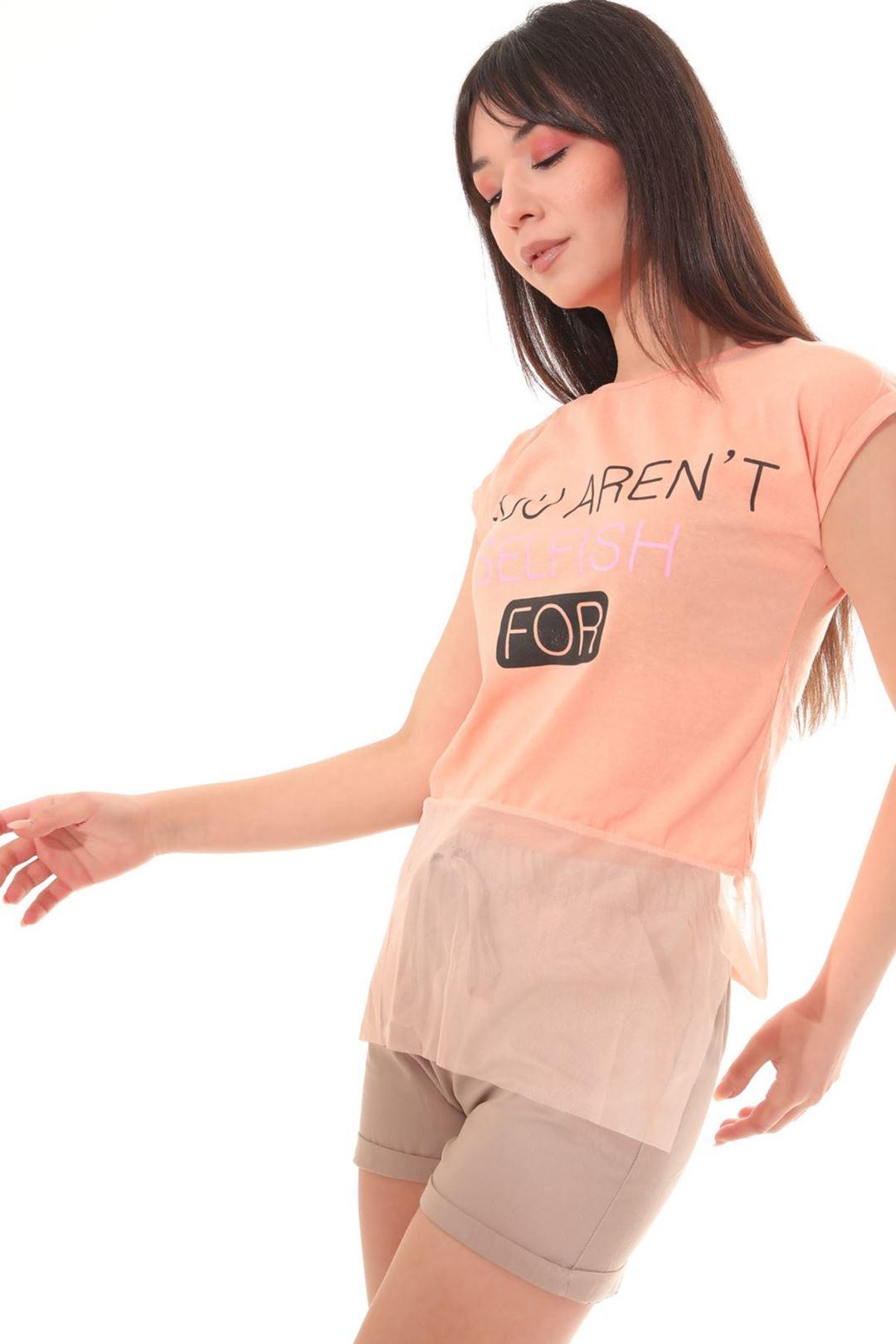 Etek Ucu Tüllü T-shirt Somon